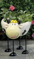 "Polyresin standing cow planter 8""x11""x13""H (5% off on case size)"