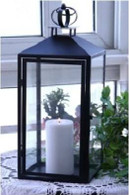 "Black metal & glass lantern 8""x8""x20""H"