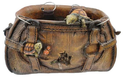 "Polyresin planting purse with turtles 13""x9""x7""H (4/crtn)"