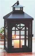 "Black metal & glass lantern  6""x6""x13""H (min 2, 6/crtn)"