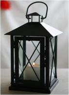 "CL105S11 – Black iron and glass lantern 6""x6""x11""H"