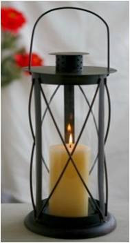 "CL104R15 – Black iron and glass lantern 7""x7""x15""H (min 2,4/crtn)"