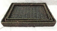 "Largest in S/3 Brown seagrass trays 16""x12""x2""H"