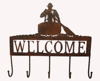 Metal welcome canoe/ wall Decor with hangers 17.5/x17/H