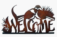 "Metal Welcome with birds wall decor  25""x13.5""H (min 1, 8/carton)"