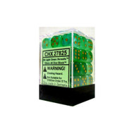 Chessex: Borealis: 12mm D6 Light Green/Gold (36)