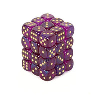 Chessex: Borealis: 12mm D6 Royal Purple/Gold (36)