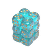 Chessex: Borealis: 16mm D6 Teal/Gold (12)