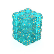 Chessex: Borealis: 12mm D6 Teal/Gold (36)