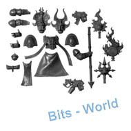 WARHAMMER 40K BITS: CHAOS SM RUBRIC MARINES - SORCERER UPGRADES & ICON OF FLAME