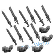 WARHAMMER 40K BITS - SPACE MARINES TACTICAL SQUAD - POWER FIST/SWORD CHAINSWORD 5x