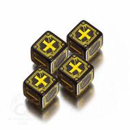 Q-Workshop: Antique Fudge Dice Set Black/Yellow (4)