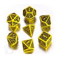 Celtic Dice Set 3D Yellow/Black (7)