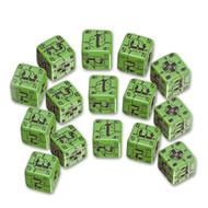Q-Workshop: Battle Dice Set German D6 Green/Black (15)