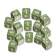 Q-Workshop: Battle Dice Set USA D6 Green/White (15)