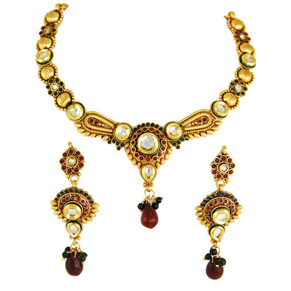1 Gram Gold Kundan Necklace Set 4