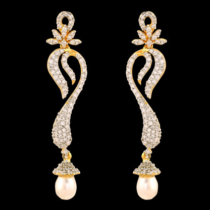 1 Gram Gold American Diamond Earrings 46