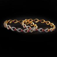 1 Gram Gold  American Diamond Bangles 55
