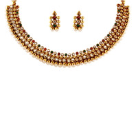 1 Gram Gold Studded Necklace Set 55