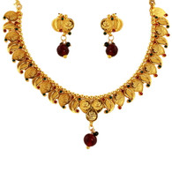 1 Gram Gold Temple Necklace Set 66