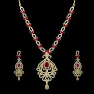1 Gram Gold  American Diamond Necklace Set 70