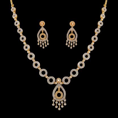 1 Gram Gold  American Diamond Necklace Set 73