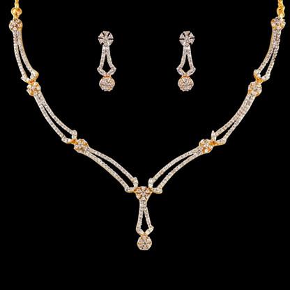 1 Gram Gold  American Diamond Necklace Set 75