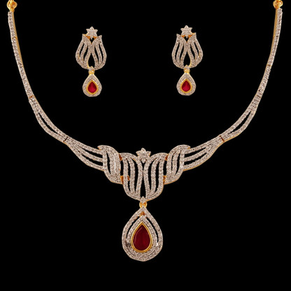 1 Gram Gold  American Diamond Necklace Set 76