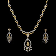 1 Gram Gold  American Diamond Necklace Set 77