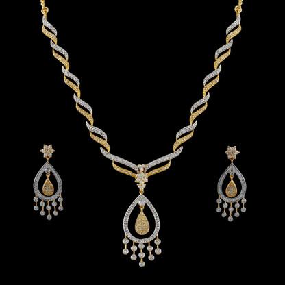 1 Gram Gold  American Diamond Necklace Set 77