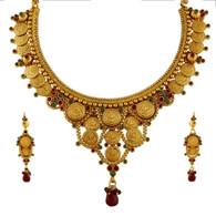 1 Gram Gold Temple Necklace Set 88