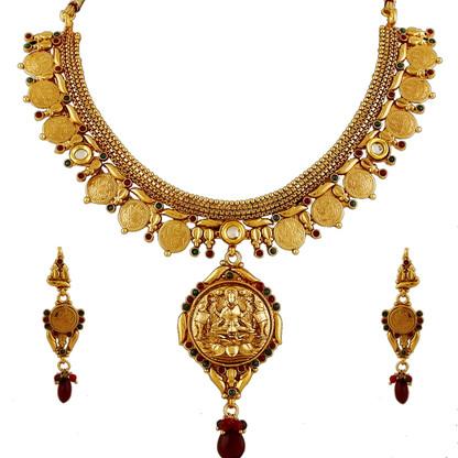 1 Gram Gold Temple Necklace Set 91