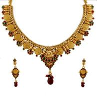 1 Gram Gold Temple Necklace Set 93