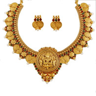 1 Gram Gold Temple Necklace Set 94