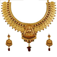 1 Gram Gold Temple Necklace Set 96
