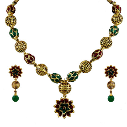 1 Gram Gold Beads Necklace Set 98