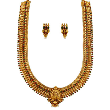 1 Gram Gold Temple Necklace Set 102