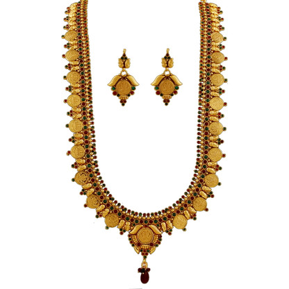 1 Gram Gold Temple Necklace Set 105