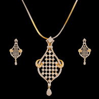 1 Gram Gold  American Diamond Pendant Set 45