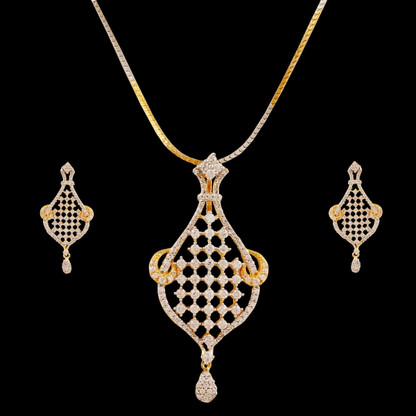 1 Gram Gold  American Diamond Pendant Set 45