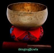 "Antique Tibetan Singing Bowl  #9610 : Lotus 7 1/8"", circa 18th Century, A#2 & E5 ."