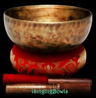 "New Tibetan Singing Bowl #9518 : HW 8 5/8"", D#3 & A4."