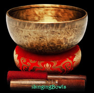 "New Tibetan Singing Bowl #9380 : HW 8 3/4"", E3 & B4."