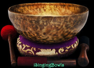 "New Tibetan Singing Bowl #9448 : HW 12 1/4"", G2 & D#4."