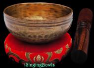 "New Tibetan Singing Bowl #9595: Cup 4 3/8"",  D5 & G#6."