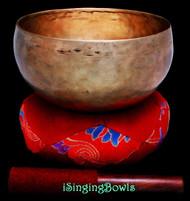 """Antique Tibetan Singing Bowl #9657: Lotus 7 1/2"""", circa 18th Century, G#2 & D4."""