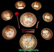 Tibetan Singing Bowl Set #104: Master-Healing  Diatonic (8 pc.)