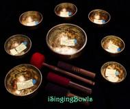 Tibetan Singing Bowl Set #117: Master-Healing  Diatonic w/ 432 Hz tuning (8 pc.)