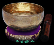 "New Tibetan Singing Bowl #9674: Cup 5 1/8"",  G#4 & C#6 ."