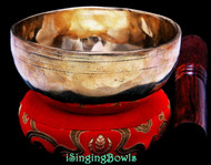 "New Tibetan Singing Bowl #9700: CBJ 4 5/8"",  A#4 & E6."